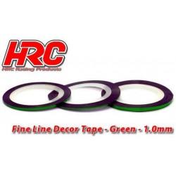 HRC5061GR10 Ligne de déco fine et autocollante - 1.0mm x 15m - Vert Metallic (15m)