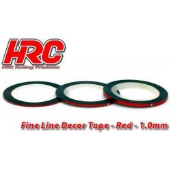 HRC5061RE10 Ligne de déco fine et autocollante - 1.0mm x 15mm - Rouge Metallic (15m)