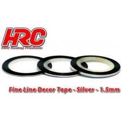HRC5061SL15 Ligne de déco fine et autocollante - 1.5mm x 15m - Argent Metallic (15m)