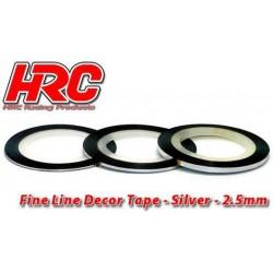 HRC5061SL25 Ligne de déco fine et autocollante - 2.5mm x 15m - Argent Metallic (15m)