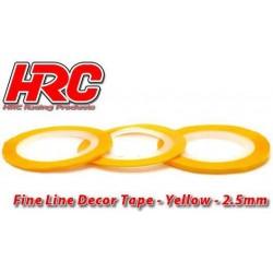 HRC5061YE25 Ligne de déco fine et autocollante - 2.5mm x 15m - Jaune Metallic(15m)