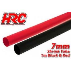 HRC5112F Gaine Thermorétractable - 7mm - rouge et noir (1m chacun)