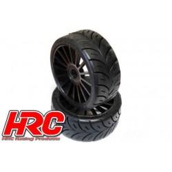 HRC60801BK Pneus - 1/8 Buggy - montés - Jantes noires - 17mm Hex - Rally Game Radiaux (2 pces)