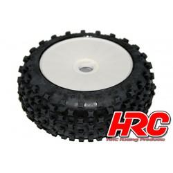 HRC60811 Pneus - 1/8 Buggy – montés - Jantes blanches - 17mm Hex - Star Pin soft (2 pces)