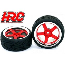 HRC61011/2 Pneus - 1/10 Touring – montés - Jantes 5-Stars Rouge/Chrome - 12mm hex - HRC High Grip Street-V (2 pces)