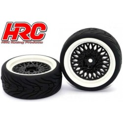 HRC61021BW Pneus - 1/10 Touring – montés - Jantes Noires/Blanches CLS - 12mm Hex - HRC Street-V II (2 pces)