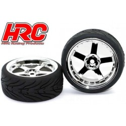 HRC61021CH Pneus - 1/10 Touring – montés - Jantes Chromes 5-bâtons - 12mm Hex - HRC Street-V II (2 pces)
