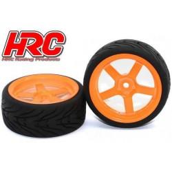 HRC61021OR Pneus - 1/10 Touring – montés - Jantes Oranges 5-bâtons - 12mm Hex - HRC Street-V II (2 pces)