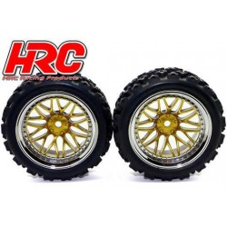 HRC61031/2 Pneus - 1/10 Rally – montés - Jantes Gold/Chrome - 12mm Hex - HRC Rally (2 pces)