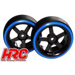 HRC61061BL Pneus - 1/10 Drift – montés - Jantes 5-bâtons 3mm Offset - Dual Color - Slick - Noir/Bleu (2 pces)