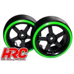 HRC61061GR Pneus - 1/10 Drift – montés - Jantes 5-bâtons 3mm Offset - Dual Color - Slick - Noir/Vert (2 pces)
