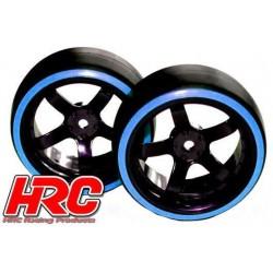 HRC61062BL Pneus - 1/10 Drift – montés - Jantes 5-bâtons 6mm Offset - Dual Color - Slick - Noir/Bleu (2 pces)