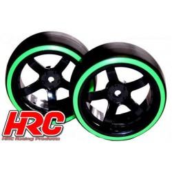HRC61062GR Pneus - 1/10 Drift – montés - Jantes 5-bâtons 6mm Offset - Dual Color - Slick - Noir/Vert (2 pces)