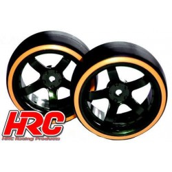 HRC61062OR Pneus - 1/10 Drift – montés - Jantes 5-bâtons 6mm Offset - Dual Color - Slick - Noir/Orange (2 pces)
