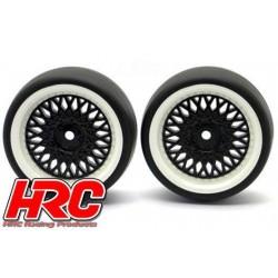 HRC61071BW Pneus - 1/10 Drift – montés - Jantes Noires/Blanches CLS 3mm Offset - Slick (2 pces)