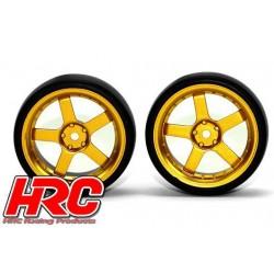 HRC61071GD Pneus - 1/10 Drift – montés - Jantes Gold 5-bâtons 3mm Offset - Slick (2 pces)