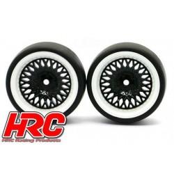 HRC61072BW Pneus - 1/10 Drift – montés - Jantes Noires/Blanches CLS 6mm Offset - Slick (2 pces)