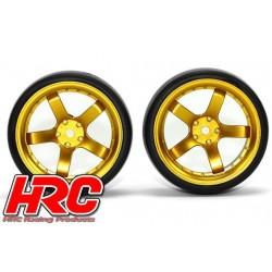 HRC61072GD Pneus - 1/10 Drift – montés - Jantes Gold 5-bâtons 6mm Offset - Slick (2 pces)