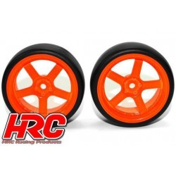 HRC61072OR Pneus - 1/10 Drift – montés - Jantes Orange 5-bâtons 6mm Offset - Slick (2 pces)