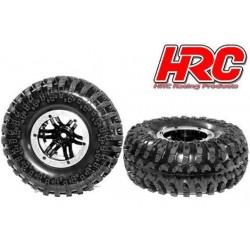 HRC61181S Pneus - 1/10 Crawler – montés - jantes noires/silver - 12mm Hex - 2.2'' - HRC Crawler XL (4 pces)