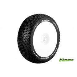 LR-T3104VW Louise RC - B-TURBO - Pneus 1-8 Buggy - Montés - Collés - Super Soft - Jantes Blanches - Hex 17mm