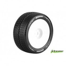 "LR-T3112VWH Louise RC - T-TURBO - Pneus 1-8 Truggy - Montés - Collés - Super Soft - Jantes Blanches - 1/2""-Offset"