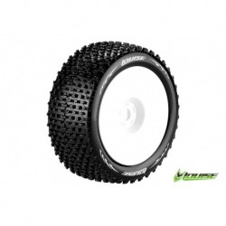 LR-T3134VW Louise RC - T-PIRATE - Pneus 1-8 Truggy - Montés - Collés - Super Soft - Jantes Blanches - 0-Offset