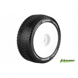 LR-T370VW Louise RC - B-GROOVE - Pneus 1-8 Buggy - Montés - Collés - Super Soft - Jantes Blanches - Hex 17mm
