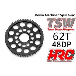 HRC74862LW Couronne - 48DP - Delrin Low Friction usiné - Ultra Light - TSW Pro Racing - 62D