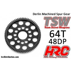 HRC74864L W Couronne - 48DP - Delrin Low Friction usiné - Ultra Light - TSW Pro Racing - 64D