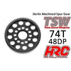 HRC74874LW Couronne - 48DP - Delrin Low Friction usiné - Ultra Light - TSW Pro Racing - 74D