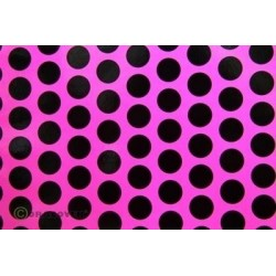 OR-41-014-071-002 Oracover - Fun 1 (16mm Dots) Fluorescent Pink + Black ( Length : Roll 2m , Width : 60cm )