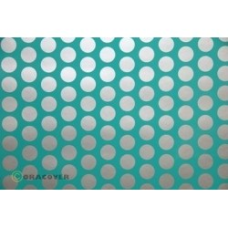OR-41-017-091-002 Oracover - Fun 1 (16mm Dots) Turquoise + Silver ( Length : Roll 2m , Width : 60cm )