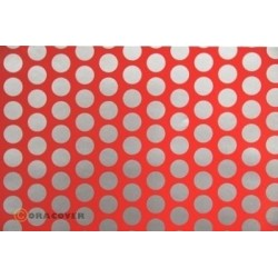 OR-41-021-091-002 Oracover - Fun 1 (16mm Dots) Fluorescent Red + Silver ( Length : Roll 2m , Width : 60cm )