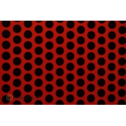 OR-41-022-071-002 Oracover - Fun 1 (16mm Dots) Light Red + Black ( Length : Roll 2m , Width : 60cm )