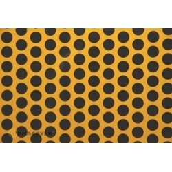 OR-41-030-071-002 Oracover - Fun 1 (16mm Dots) Cub Yellow + Black ( Length : Roll 2m , Width : 60cm )