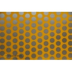 OR-41-030-091-002 Oracover - Fun 1 (16mm Dots) Cub Yellow + Silver ( Length : Roll 2m , Width : 60cm )