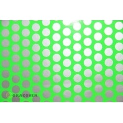 OR-41-041-091-002 Oracover - Fun 1 (16mm Dots) Fluorescent Green + Silver ( Length : Roll 2m , Width : 60cm )
