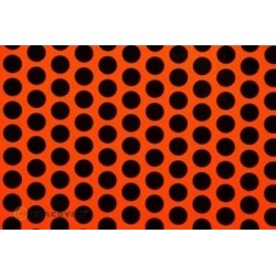 OR-41-064-071-002 Oracover - Fun 1 (16mm Dots) Fluorescent Red/Orange + Black ( Length : Roll 2m , Width : 60cm )
