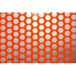 OR-41-064-091-002 Oracover - Fun 1 (16mm Dots) Fluorescent Red/Orange + Silver ( Length : Roll 2m , Width : 60cm )