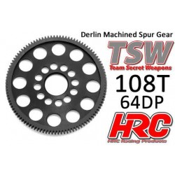 HRC764108LW Couronne - 64DP - Delrin Low Friction usiné - Ultra Light - TSW Pro Racing – 108D