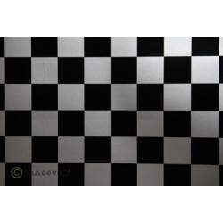 OR-43-091-071-002 Oracover - Fun 3 (25mm Square) Silver + Black ( Length : Roll 2m , Width : 60cm )