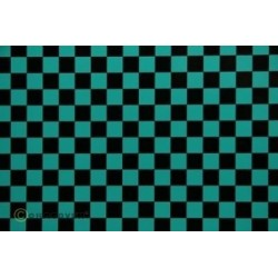 OR-44-017-071-002 Oracover - Fun 4 (12,5mm Square) Turquoise + Black ( Length : Roll 2m , Width : 60cm )