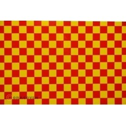 OR-44-033-023-002 Oracover - Fun 4 (12,5mm Square) Yellow + Red ( Length : Roll 2m , Width : 60cm )
