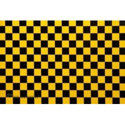OR-44-036-071-010 Oracover - Fun 4 (12,5mm Square) Pearl Yellow + Black ( Length : Roll 10m , Width : 60cm )