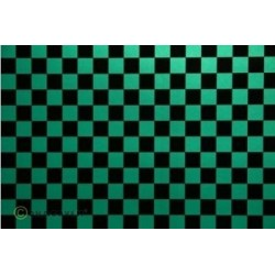 OR-44-047-071-002 Oracover - Fun 4 (12,5mm Square) Pearl Green + Black ( Length : Roll 2m , Width : 60cm )
