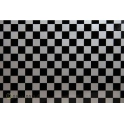 OR-44-091-071-002 Oracover - Fun 4 (12,5mm Square) Silver + Black ( Length : Roll 2m , Width : 60cm )