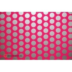 OR-45-014-091-002 Oracover - Orastick - Fun 1 (16mm Dots) Fluorescent Pink + Silver ( Length : Roll 2m , Width : 60cm )