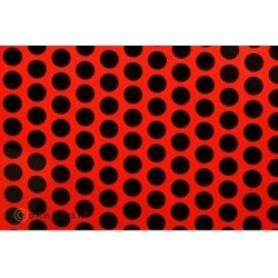 OR-45-021-071-002 Oracover - Orastick - Fun 1 (16mm Dots) Fluorescent Red + Black ( Length : Roll 2m , Width : 60cm )