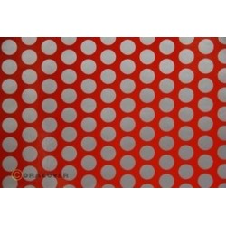 OR-45-022-091-002 Oracover - Orastick - Fun 1 (16mm Dots) Light Red + Silver ( Length : Roll 2m , Width : 60cm )